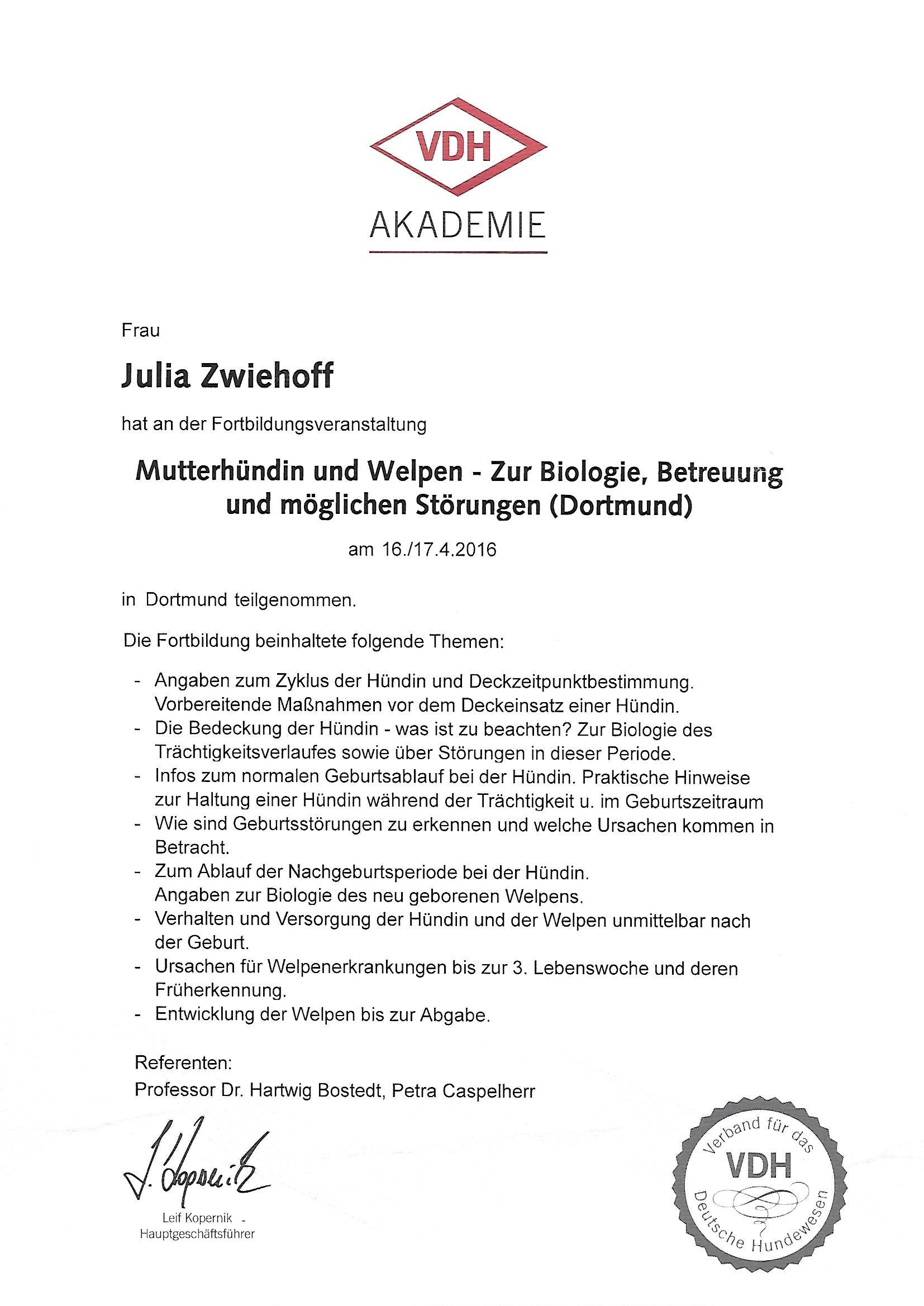 Mutterhündin und Welpen Seminar vom VDH